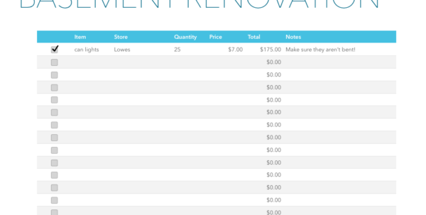 Renovation Costs Spreadsheet In Basement Renovation Budget—Excel Template  Rachel Rossi Renovation Costs Spreadsheet Google Spreadsheet