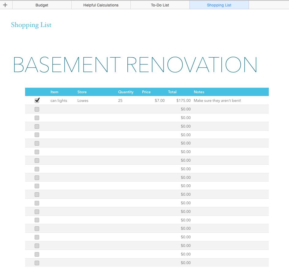 Renovation Costs Spreadsheet In Basement Renovation Budget—Excel Template  Rachel Rossi