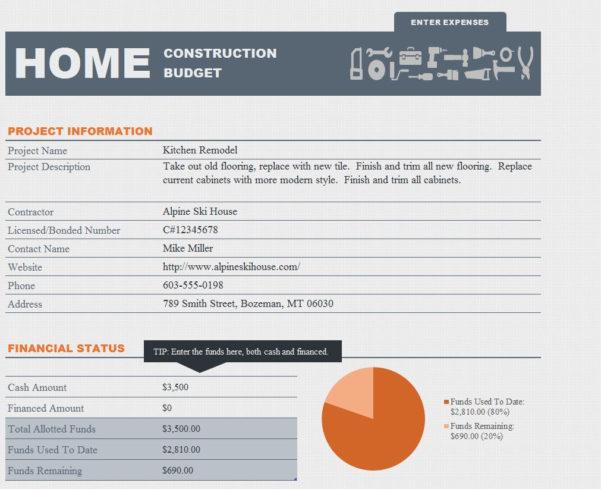 Renovation Costs Spreadsheet Regarding Home Renovation Budget Template Excel