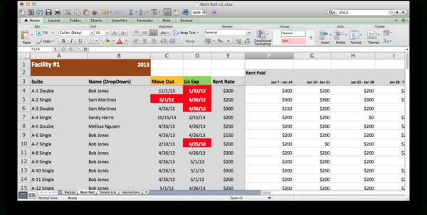 Rent Roll Excel Spreadsheet Regarding Rent Roll  Excel Models