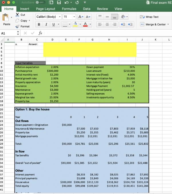 """Rent Vs Buy Spreadsheet Throughout Consider The """"Buy Vs. Rent"""" Excel Spreadsheet Prov  Chegg"""
