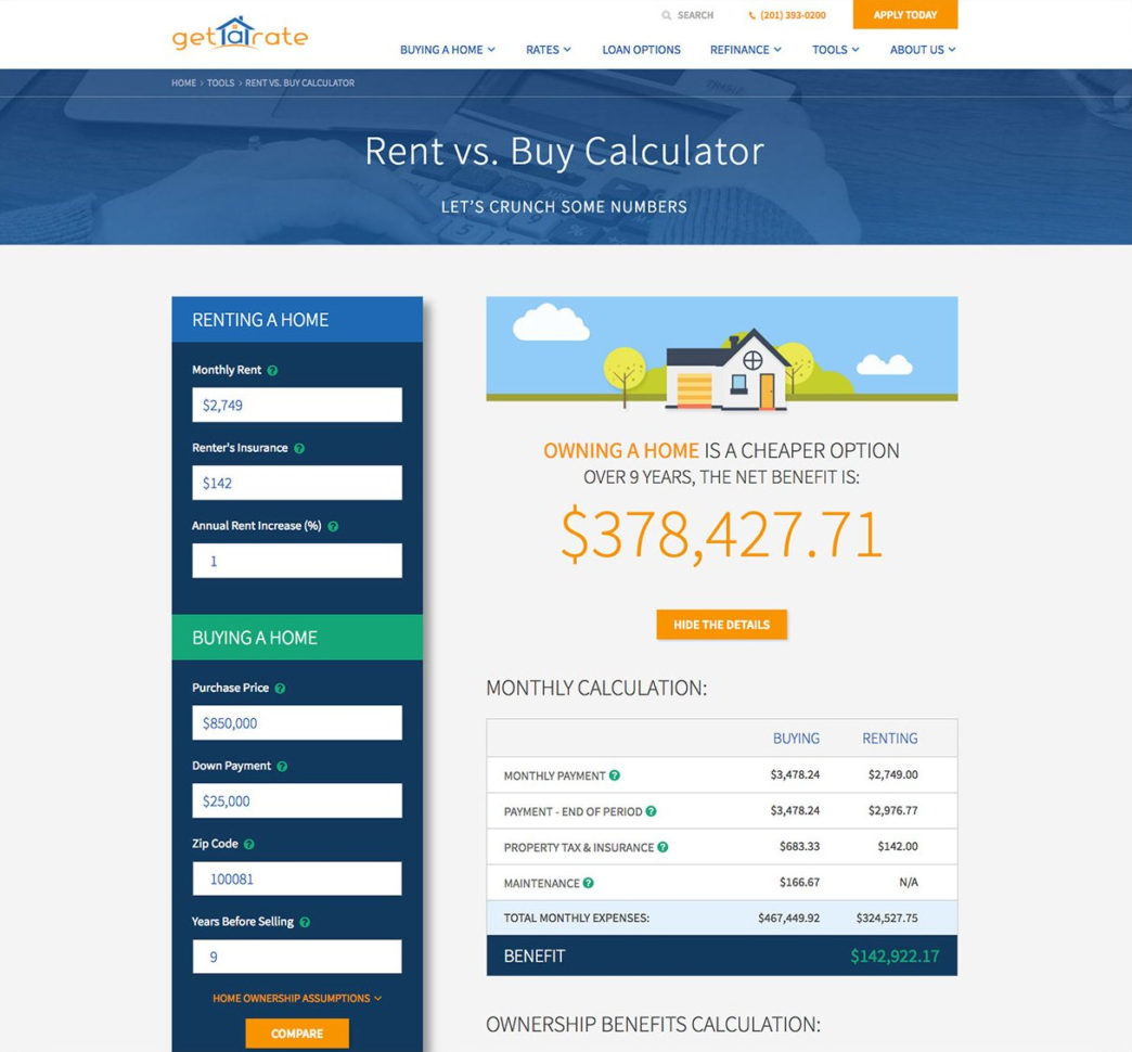 Rent Vs Buy Spreadsheet With Regard To Rent Vs. Buy Calculator: Try It And See Which Option Makes Sense