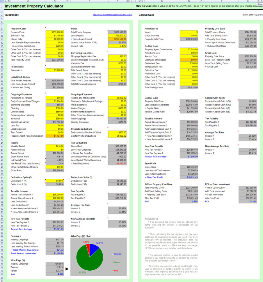 Rental Calculator Spreadsheet Pertaining To Free Investment Property Calculator Excel Spreadsheet