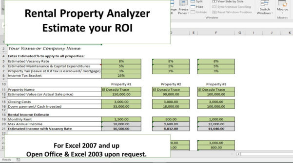 Rental Property Investment Calculator Spreadsheet With Rental Property Investment Calculator Spreadsheet With Budget