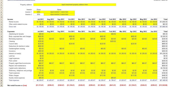 Rental Property Roi Excel Spreadsheet With Regard To Rental Property Excel Spreadsheet Free Investment For Tax Roi