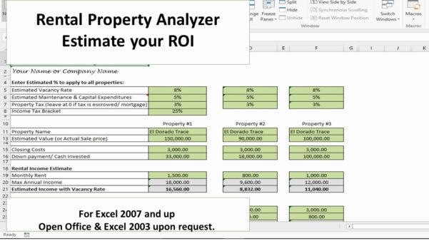 Rental Property Roi Spreadsheet Throughout Example Of Rental Property Investment Spreadsheet Real Estate Or