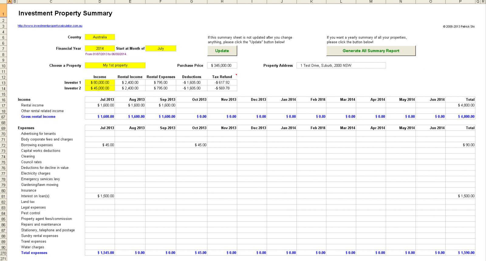 Rental Property Spreadsheet Canada Regarding Rental Property Excel Spreadsheet Free Investment For Tax Roi