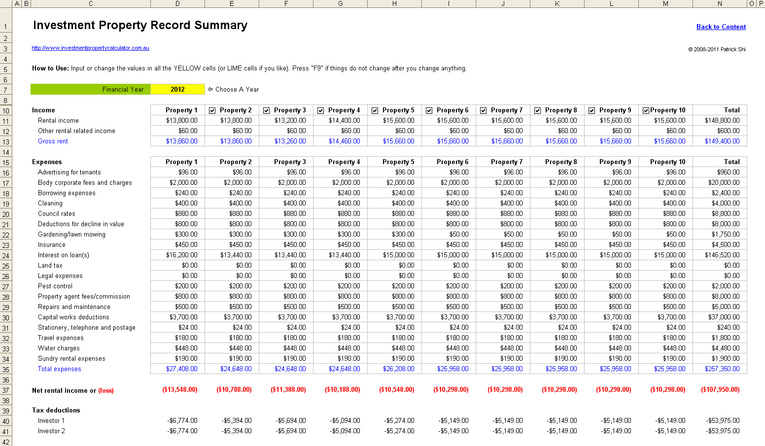 Rental Spreadsheet Inside Free Rental Property Investment Analysis Calculator Excel
