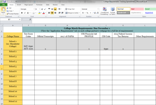 Requirements Tracking Spreadsheet In Dear Qb: How Do I Complete My College Match Requirements On Time?