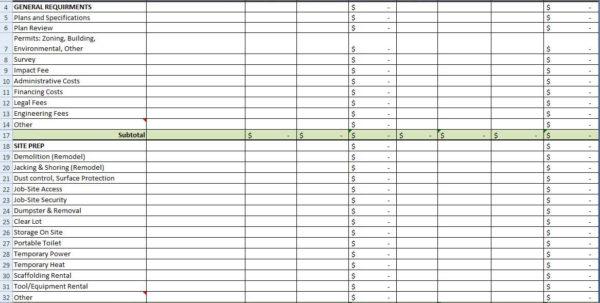 Residential Estimating Spreadsheet In Residential Construction Cost Estimator Excel Estimating Spreadsheet