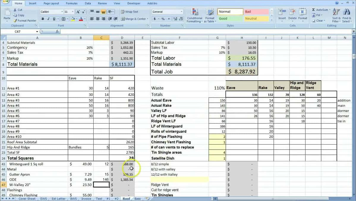 Residential Estimating Spreadsheet Throughout Building Cost Estimator Spreadsheet  Job And Resume Template