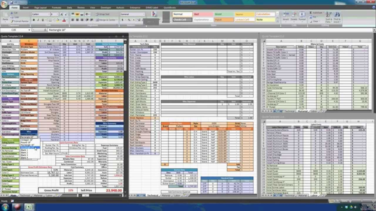 Residential Estimating Spreadsheet With Residential