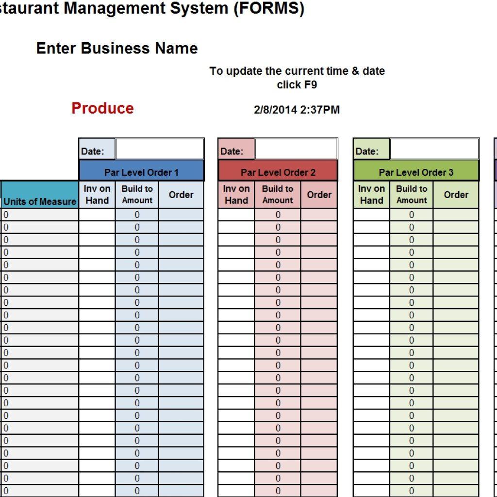 Restaurant Bar Inventory Spreadsheet for Restaurant ...