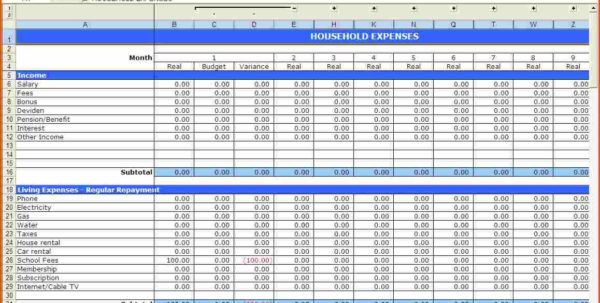 Restaurant Budget Spreadsheet Free Download Throughout Spreadsheet Yearly Monthly Personal Budget Household Example Of