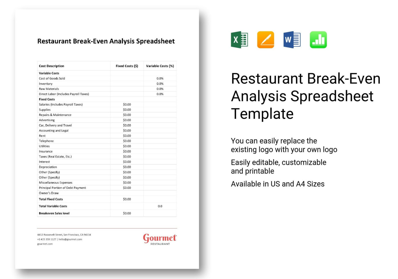 Restaurant Cost Analysis Spreadsheet Intended For Restaurant Breakeven Analysis Spreadsheet Template In Word, Excel