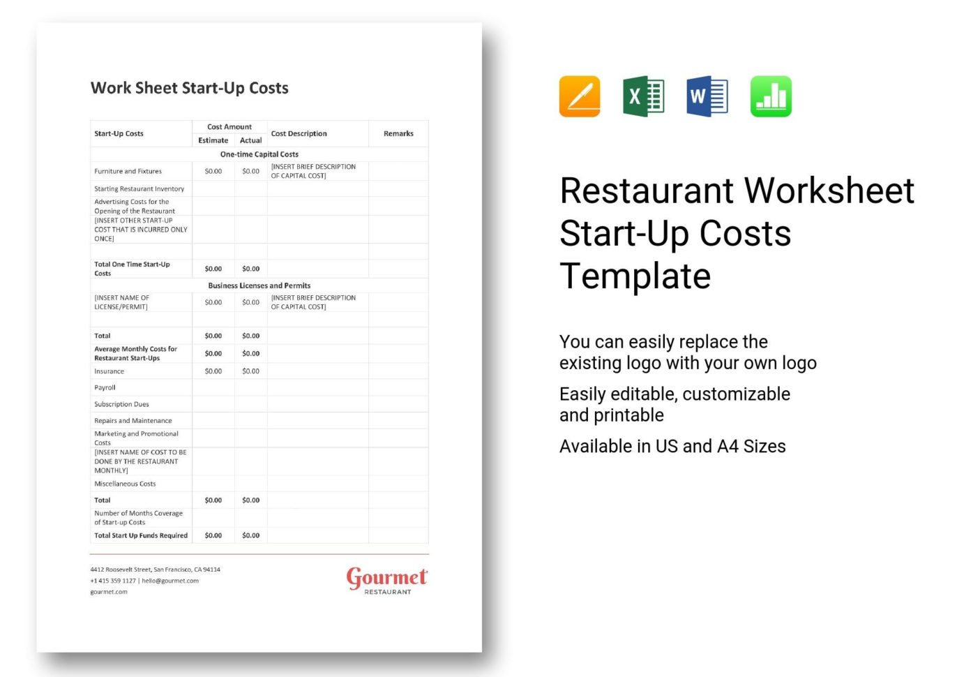 Restaurant Costs Spreadsheet Intended For 020 Template Ideas Restaurant Worksheet Start Up Costs ~ Ulyssesroom