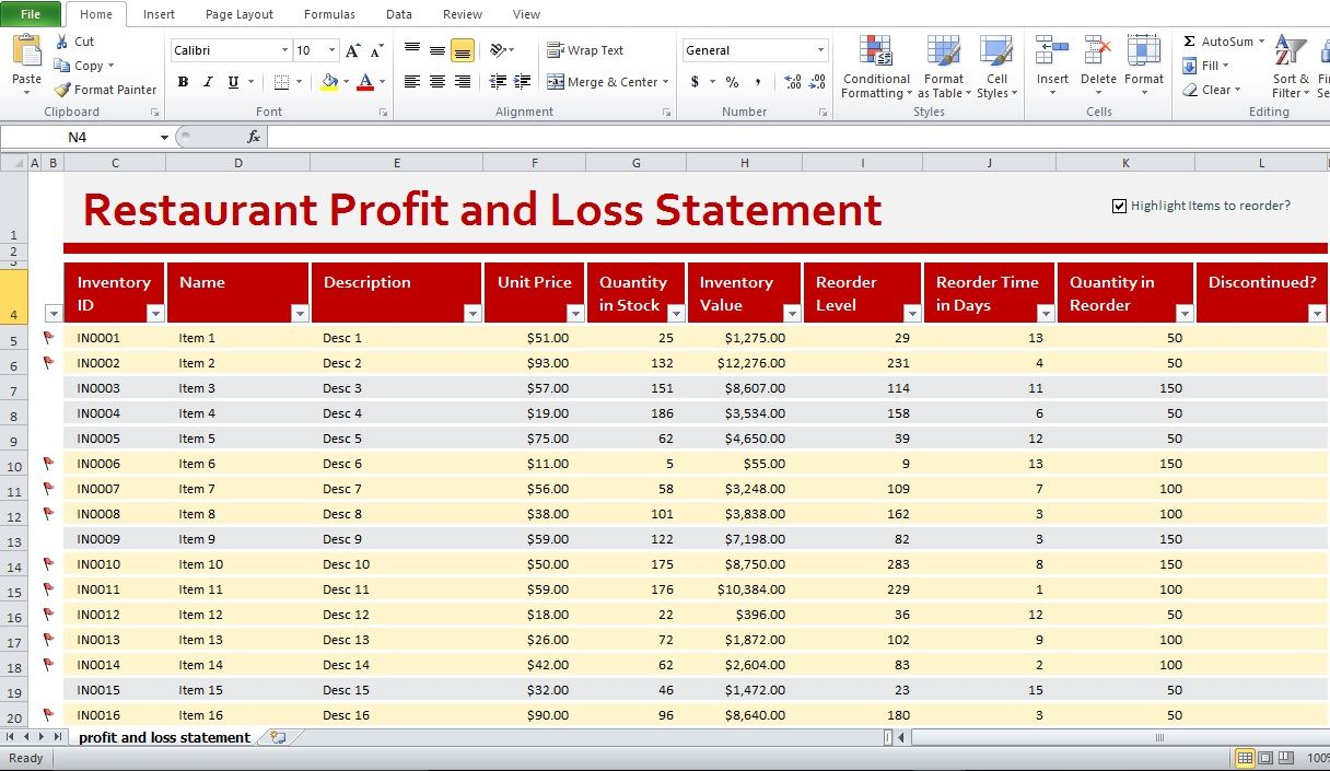 Restaurant Excel Spreadsheets For Profit And Loss Template For Restaurants Statement Restaurant