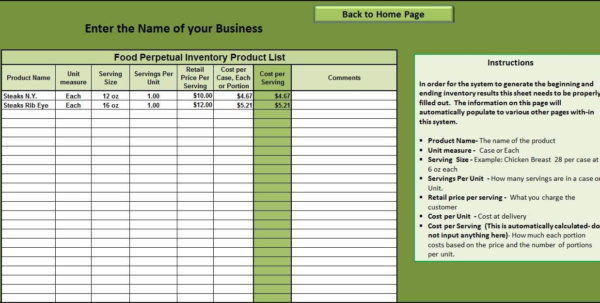 Restaurant Excel Spreadsheets In Restaurant Inventory Sheet Pdf And Food Cost Excel Spreadsheet