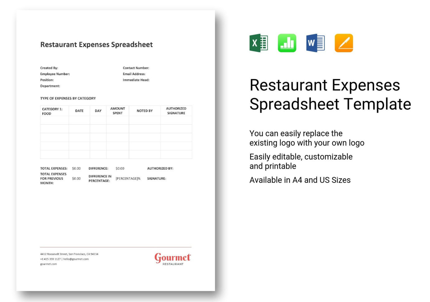 Restaurant Expenses Spreadsheet Intended For Restaurant Expenses Spreadsheet Template In Word, Excel, Apple Pages