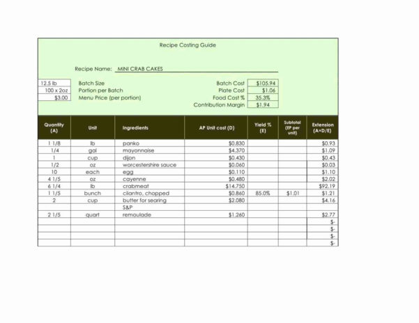 Restaurant Food Cost Spreadsheet With Food Cost Spreadsheet – Alltheshopsonline.co.uk