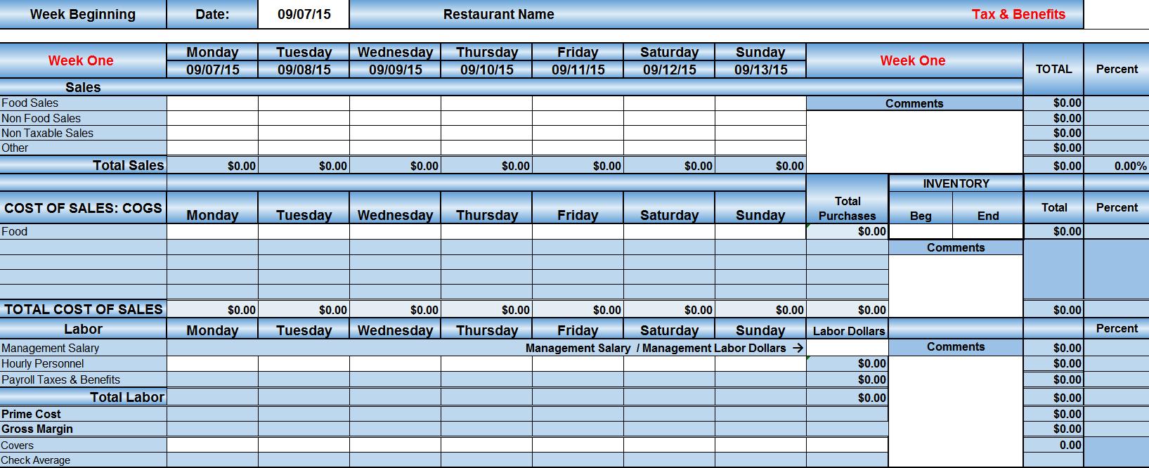 Restaurant Labor Cost Spreadsheet For Restaurant Excel Spreadsheets  Aljererlotgd