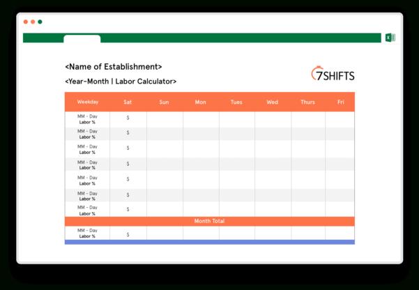 Restaurant Labor Cost Spreadsheet Regarding Free Restaurant Labor Calculator Template  7Shifts