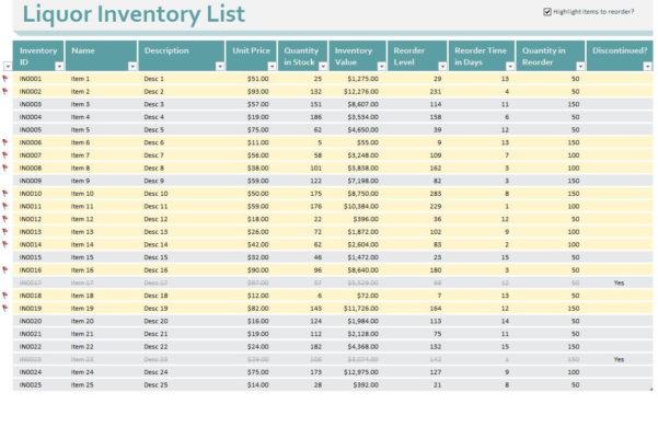 Restaurant Liquor Inventory Spreadsheet Pertaining To Bar Inventory Spreadsheet I Free Liquor Restaurant Perpetual