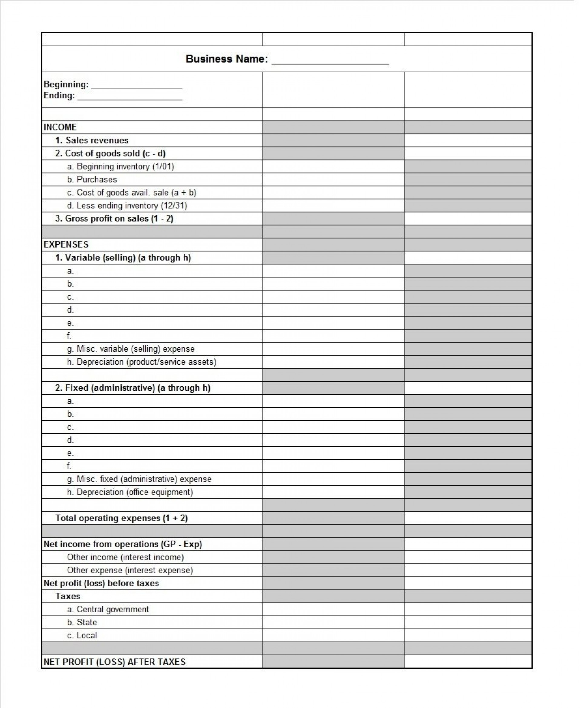 Restaurant Profit And Loss Spreadsheet Pertaining To 008 Profit And Loss Template Free Ideas ~ Ulyssesroom