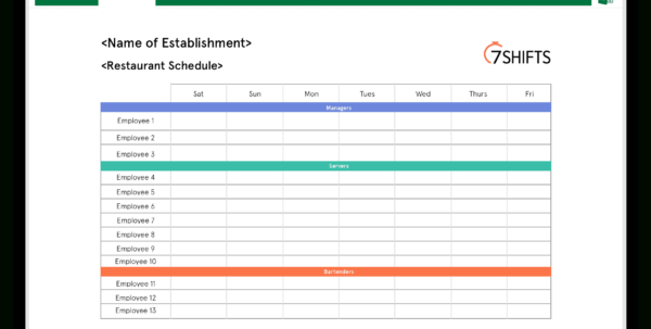 Restaurant Spreadsheets Free In Restaurant Schedule Excel Template  7Shifts