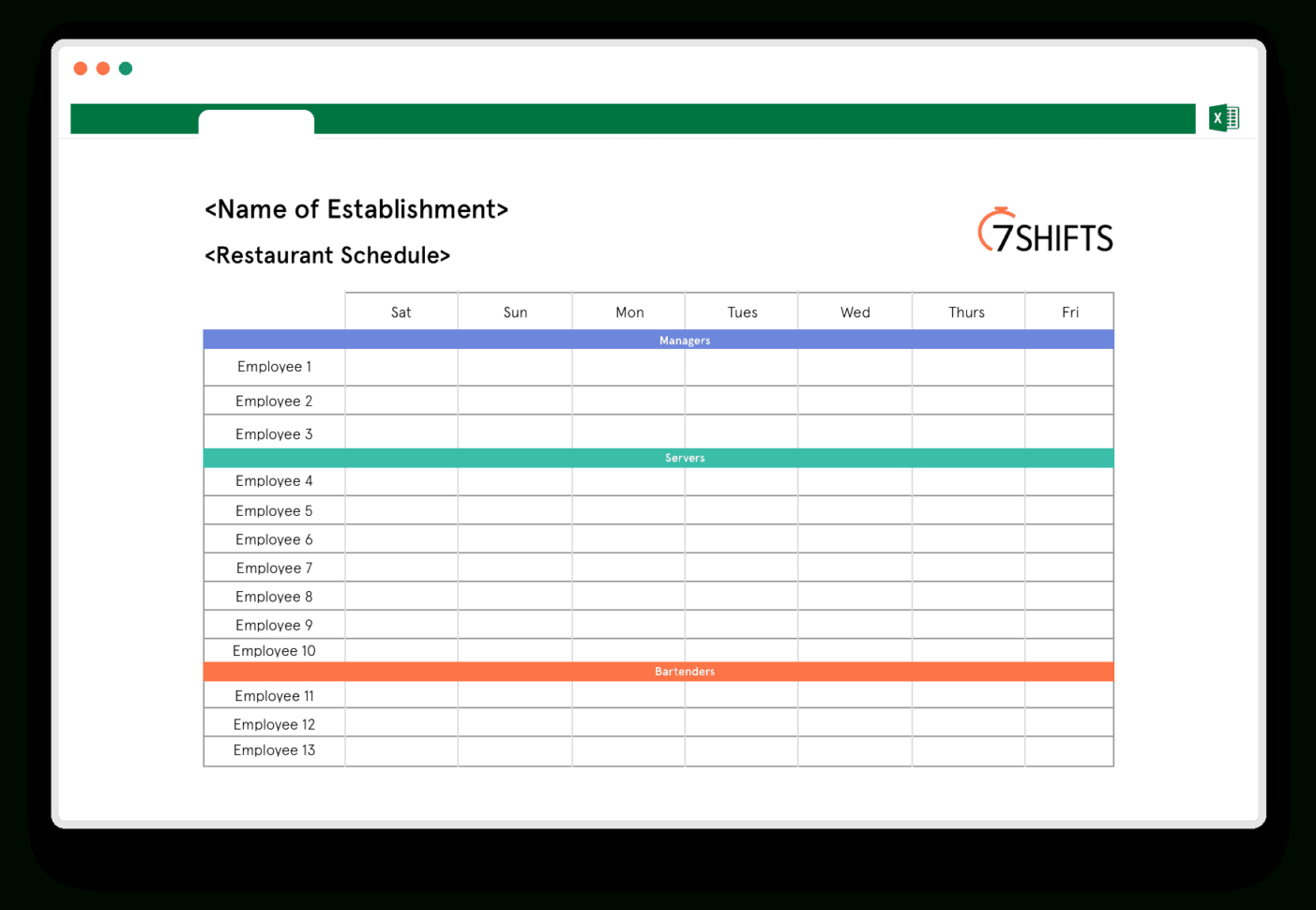 Restaurant Spreadsheets Inside Restaurant Schedule Excel Template  7Shifts