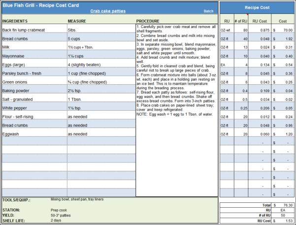 Restaurant Tip Share Spreadsheet Regarding Menu  Recipe Cost Spreadsheet Template