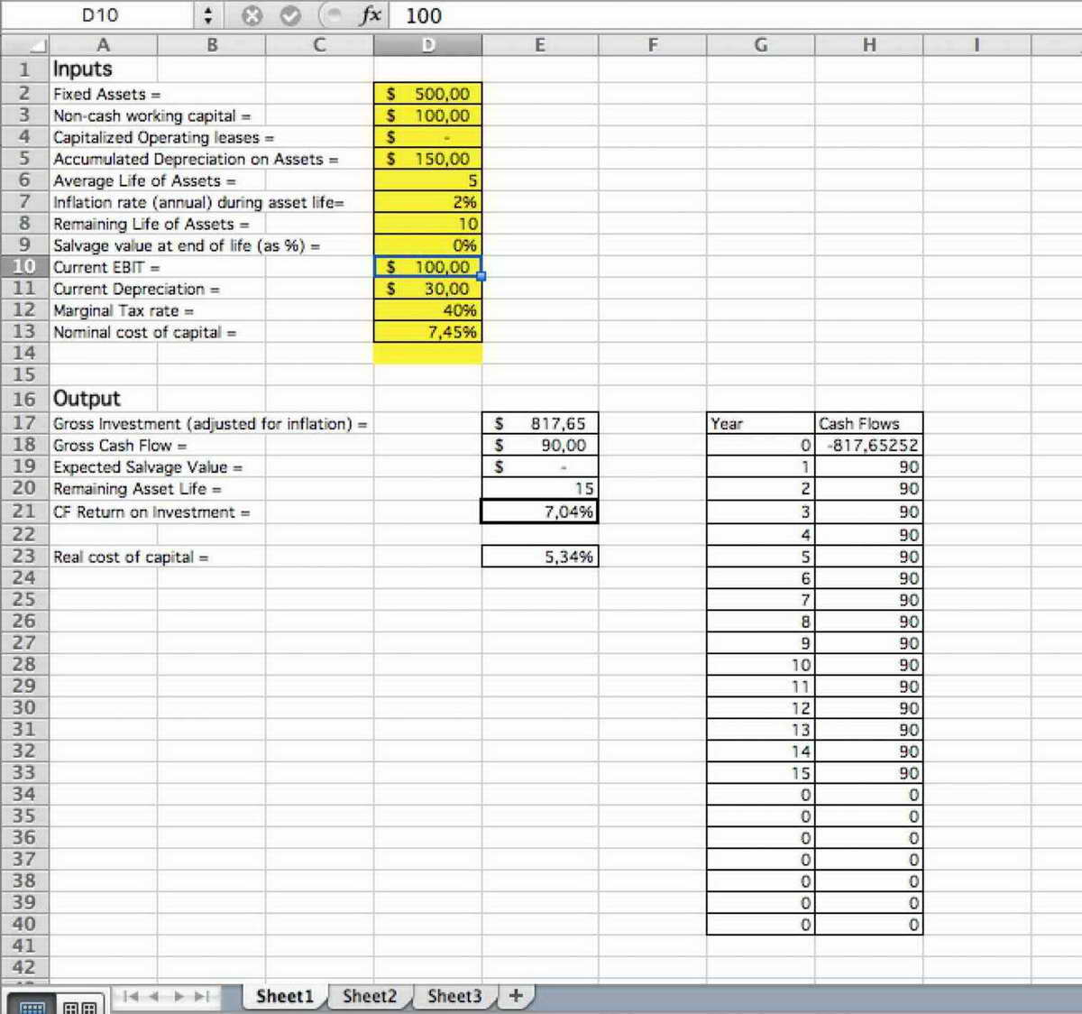 Restaurant Valuation Spreadsheet With Regard To Business Valuation Spreadsheet With Discounted Cash Flow Template