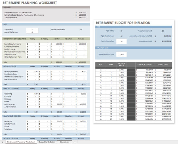 Retirement Spreadsheet Template Throughout Retirement Planning Worksheets Spreadsheet Template Free Worksheet