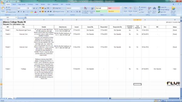 Rfi Spreadsheet Inside User Guide