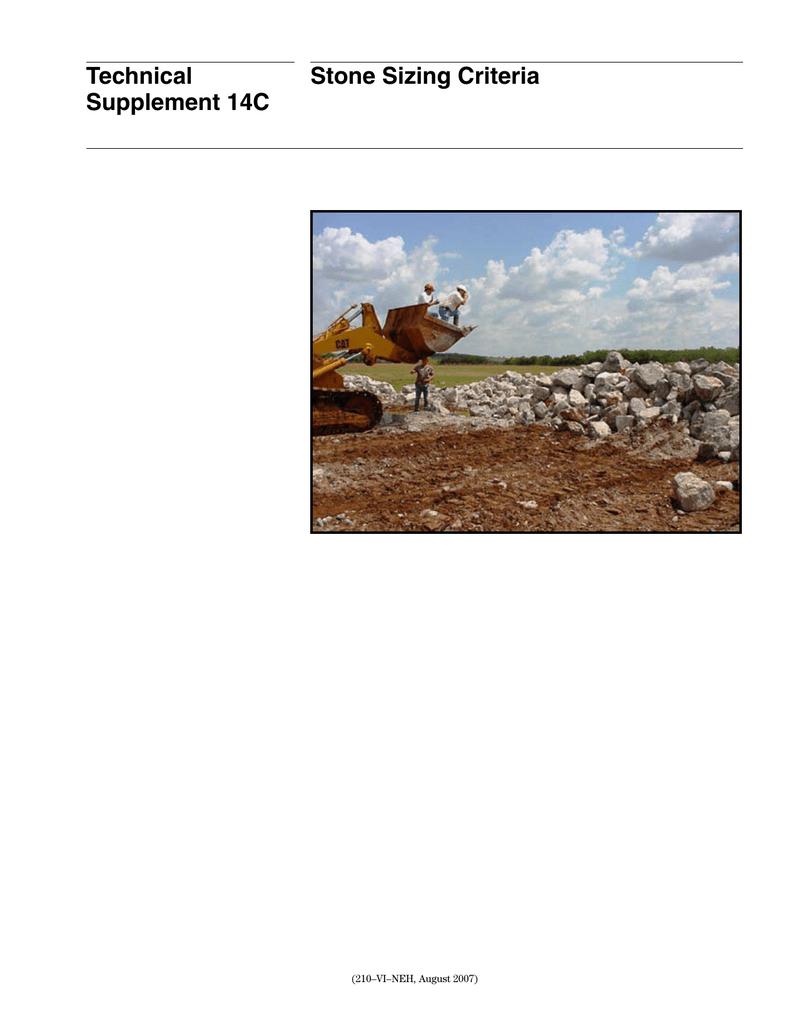 Riprap Sizing Spreadsheet inside Technical Stone Sizing Criteria Supplement 14C