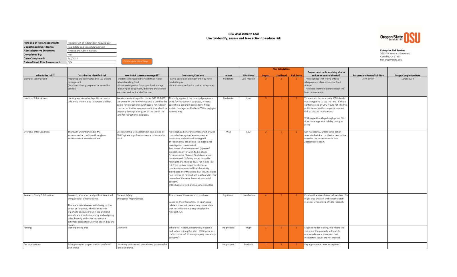 Risk Management Spreadsheet Template Pertaining To Risk Assessment Tool › Risk Management