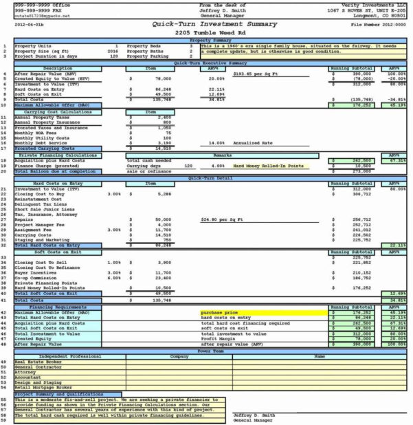Roi Spreadsheet Template Real Estate For Realstate Investment Spreadsheet Template And Rental Property Cash