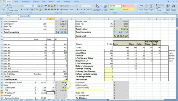 Roofing Estimate Spreadsheet Intended For Cost Estimating Sheet With Excel For The General Contractor