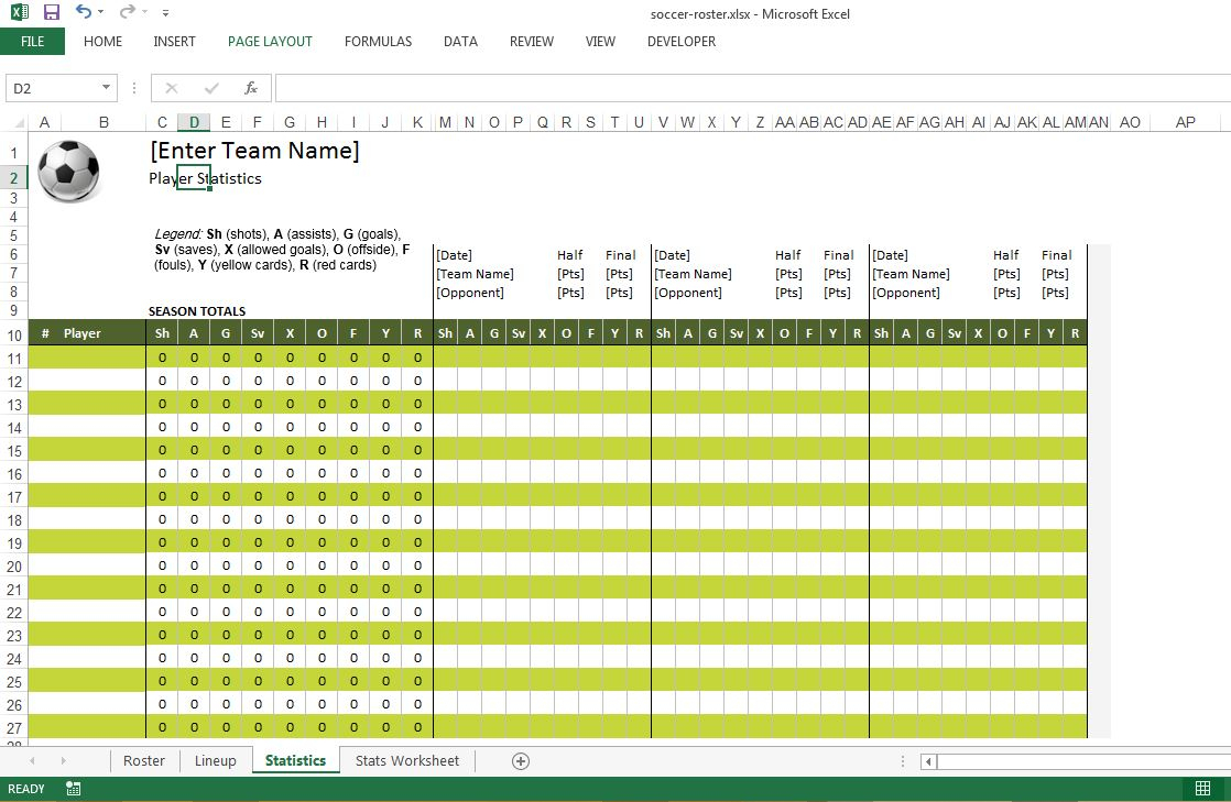 Roster Spreadsheet Template Free With Soccer Roster Free Excel Template  Excel Templates For Every Purpose