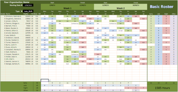 Roster Spreadsheet Throughout Roster Template Excel Spreadsheet Collections  Parttime Jobs