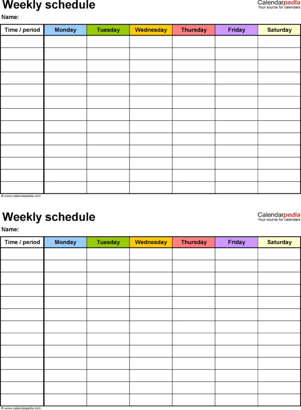 Rota Spreadsheet Pertaining To Free Weekly Schedule Templates For Excel  18 Templates