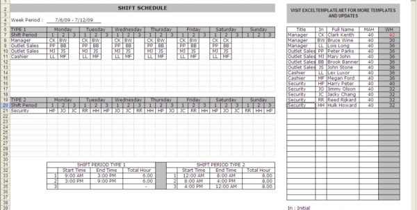 Rota Spreadsheet Template In Shift Schedule Excel  Kasare.annafora.co
