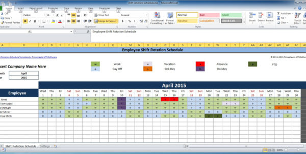 Rota Spreadsheet Template Within Free Employee And Shift Schedule Templates
