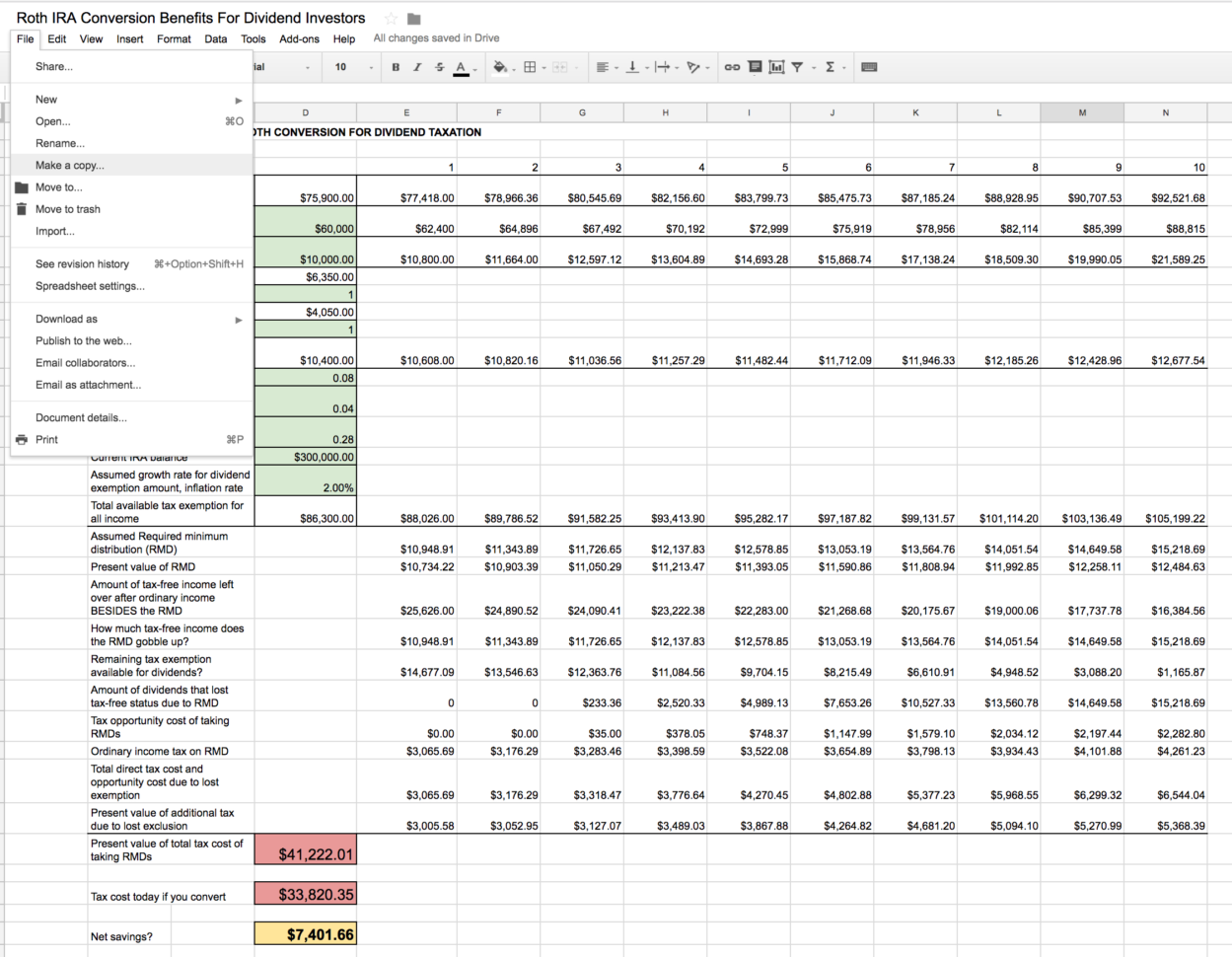Roth Ira Excel Spreadsheet Pertaining To Roth Ira Conversion Spreadsheet  Seeking Alpha