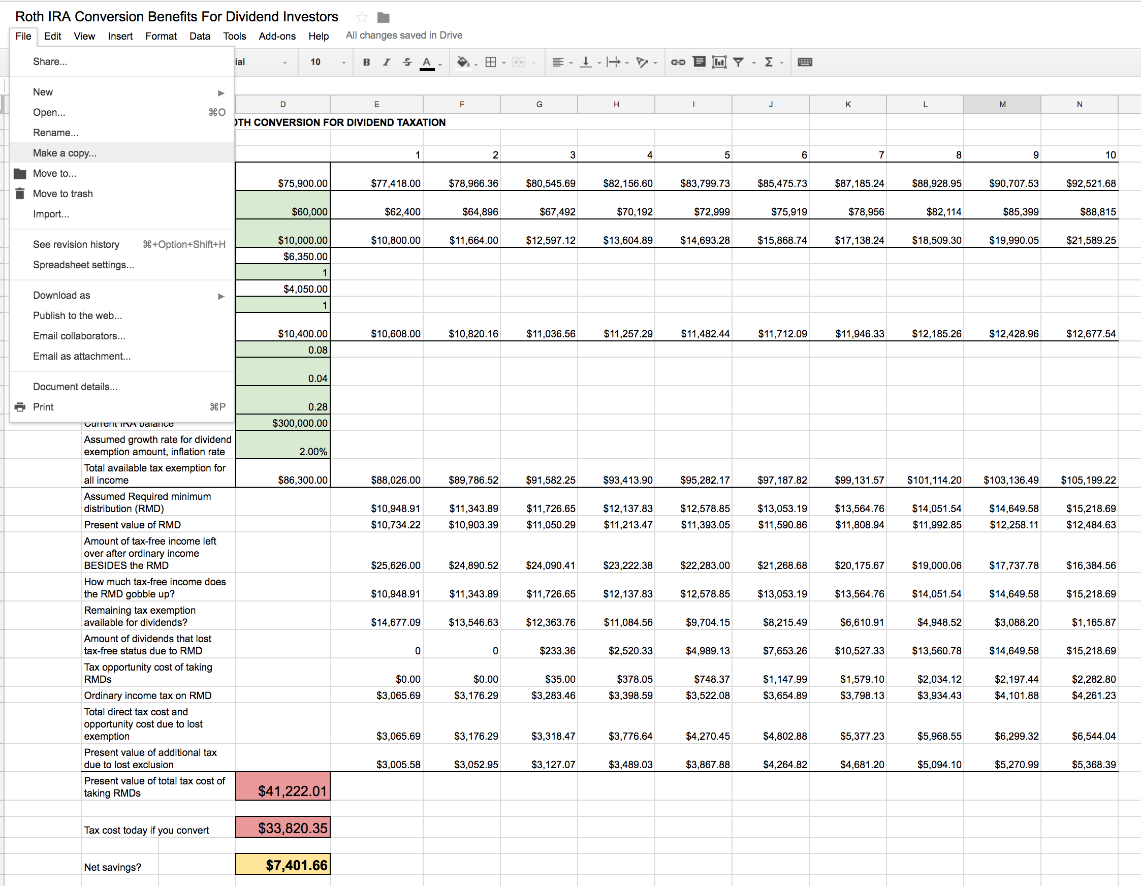 Roth Ira Excel Spreadsheet Pertaining To Roth Ira Conversion Spreadsheet  Seeking Alpha
