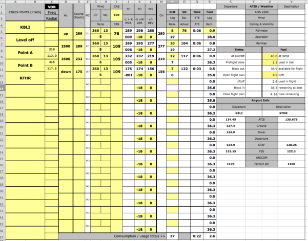 Route Planner Excel Spreadsheet Regarding The Best And Only Excelbased Vfr Flight Planner You'll Ever Need