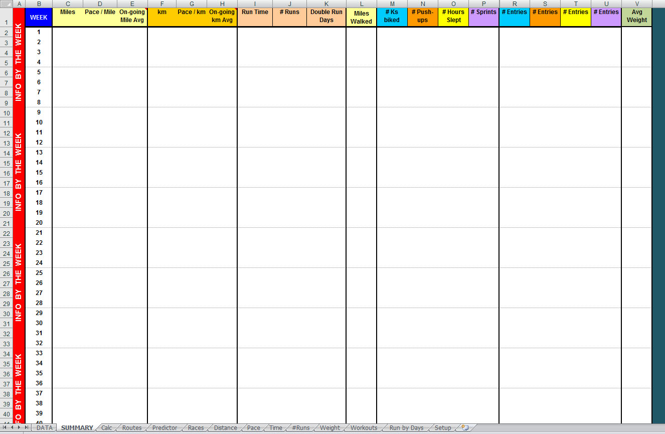 Running Spreadsheet Regarding Free Advanced Year Long Excel Running Log – Digital Citizen