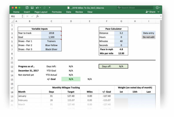 Running Spreadsheet Throughout An Even More Improved Runtracking Excel Workbook  The Robservatory