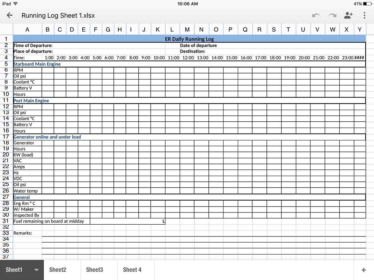 Running Spreadsheet With Running Log Sheet  Super Yacht Management