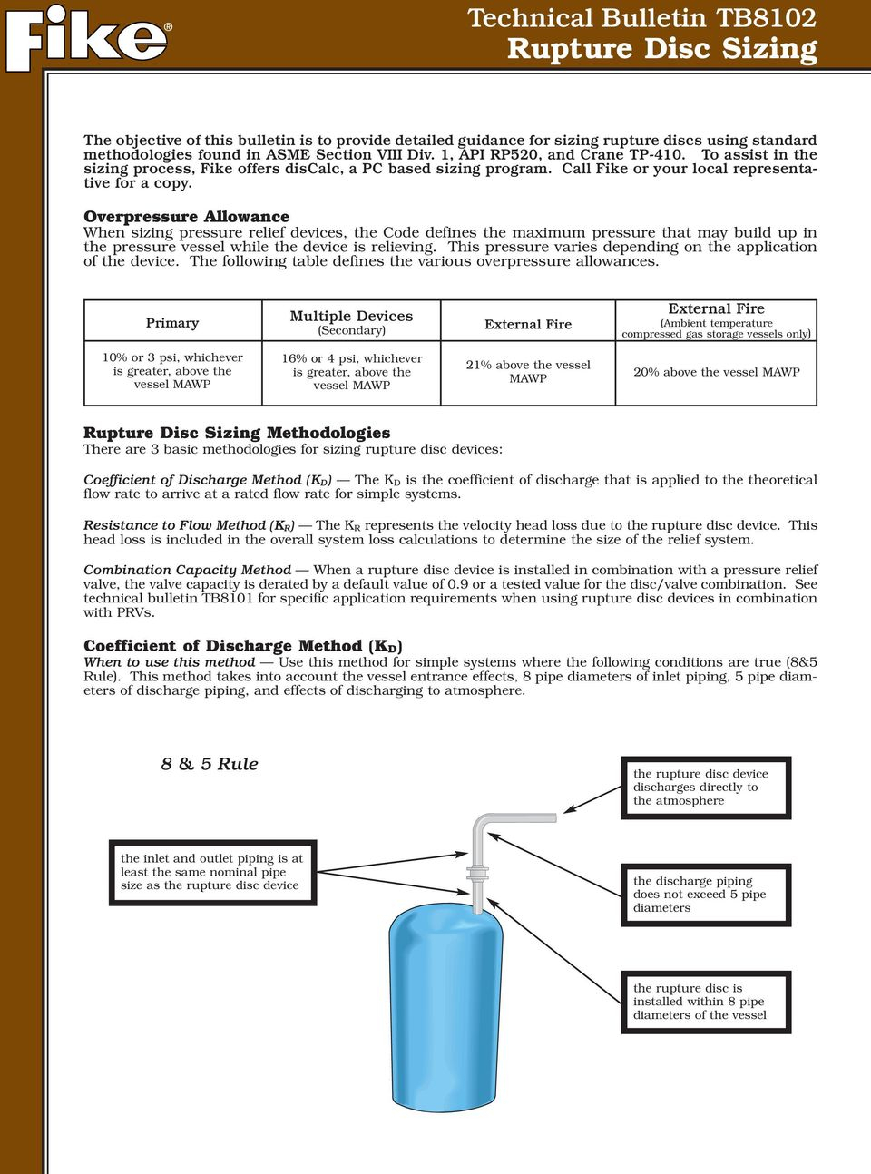 Rupture Disc Sizing Spreadsheet Throughout Technical Bulletin Tb8102 Rupture Disc Sizing  Pdf